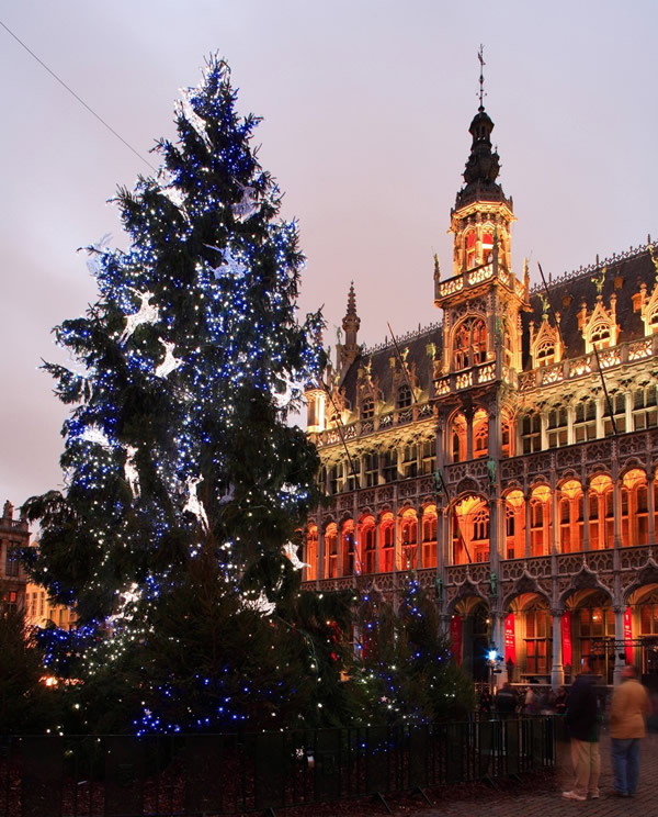 Belgium, Brussels, Grand Place & Christmas Tree