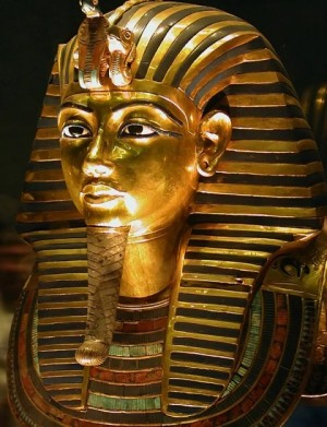 the mask of tutankhamon in the cairo egyptian museum.