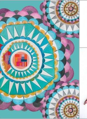 Eșarfă de mătase 67x67 cm, Circular Wishes, 250 lei, Maria Dermengiu http://marienouvellestudio.ro/