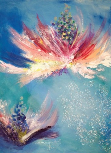 Eșarfă de mătase Flowers Whispers, Maria Dermengiu, dimensiuni 67x67 cm, preț 250 lei, http://marienouvellestudio.ro/