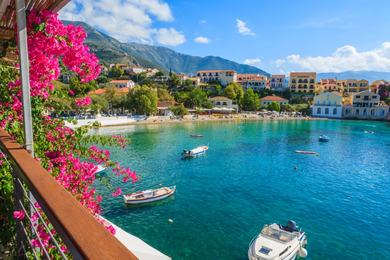 Beautiful bay in Assos fishing village on coast of Kefalonia island, Greece