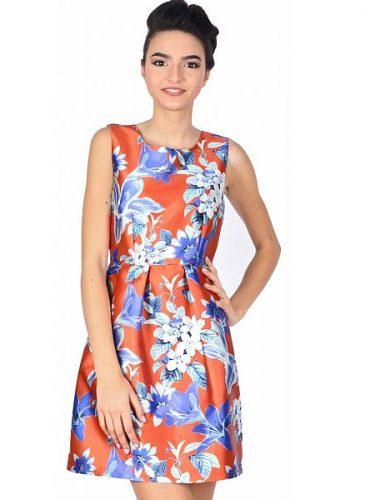 rochie-de-ocazie-orange-scurta-cu-flori-albastre-w2105-6o-4
