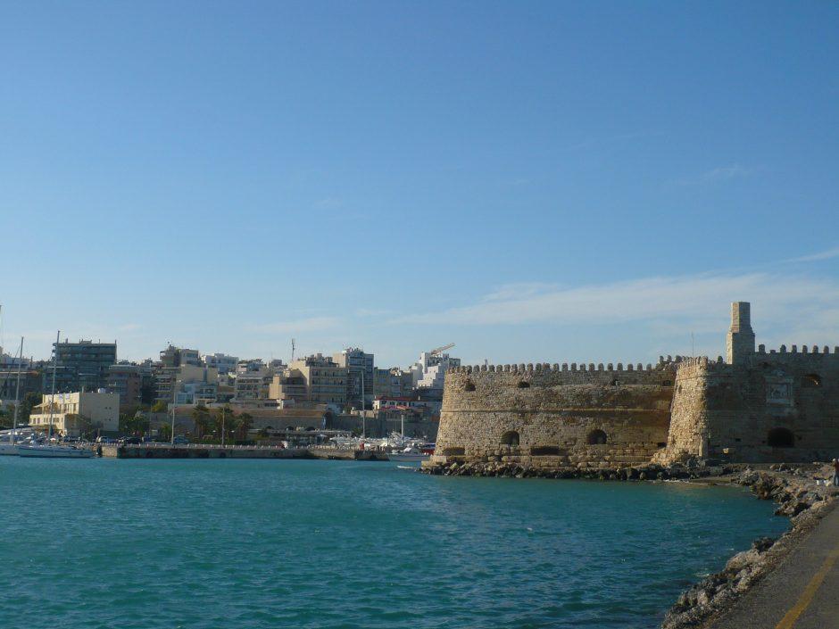 fortul Koules si portul Heraklion - prima mea poza facuta in insula Creta