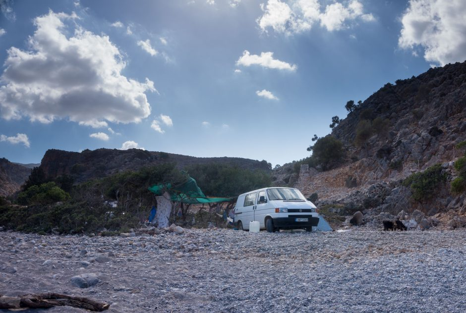 Rulota pe plaja Menies, insula Creta, Grecia