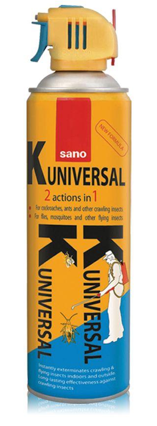 sano K universal 2 în 1 distruge instant insectele zburătoare și târâtoare, din casă și exterior