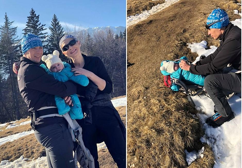 Cu bebelușul pe vârfuri montane