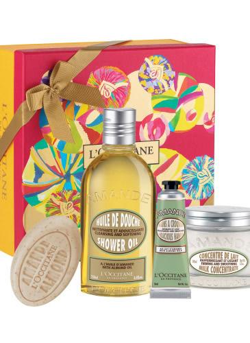 Set de la l'Occitane: Almond Collection , 264 lei (cremă de mâini, ulei de duș, lapte de corp, săpun)