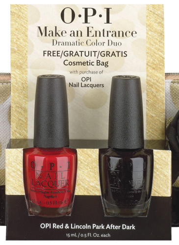 OPI Make an entrance: 2 x Lac unghii Big apple red & Lincoln Park after dark + portfard,103 lei