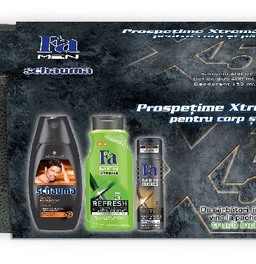 Trusă cadou Schauma & Fa Men Xtreme, 33.49 lei. Conține: Șampon Schauma Sport, 250 ml, Gel de dus Fa Men Xtreme Refresh 5, 500 ml, Deodorant Fa Men Xtreme Protect 5, 150 ml