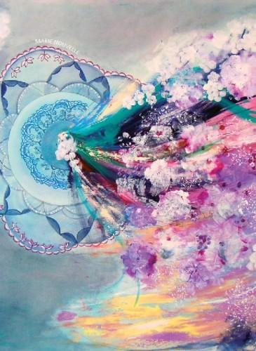 Eșarfă de mătase 100%, semnată Maria Dermengiu, dimensiuni 67x67 cm, preț 250 lei, http://marienouvellestudio.ro/