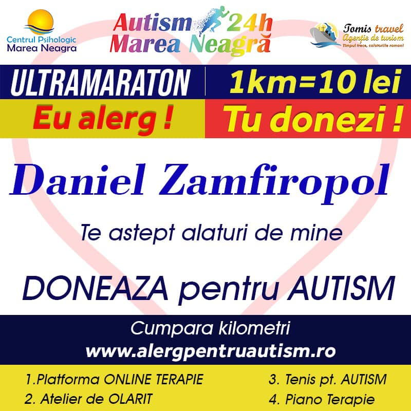 a alergat in cmpania pentru ajutorul dat copiilor cu autism