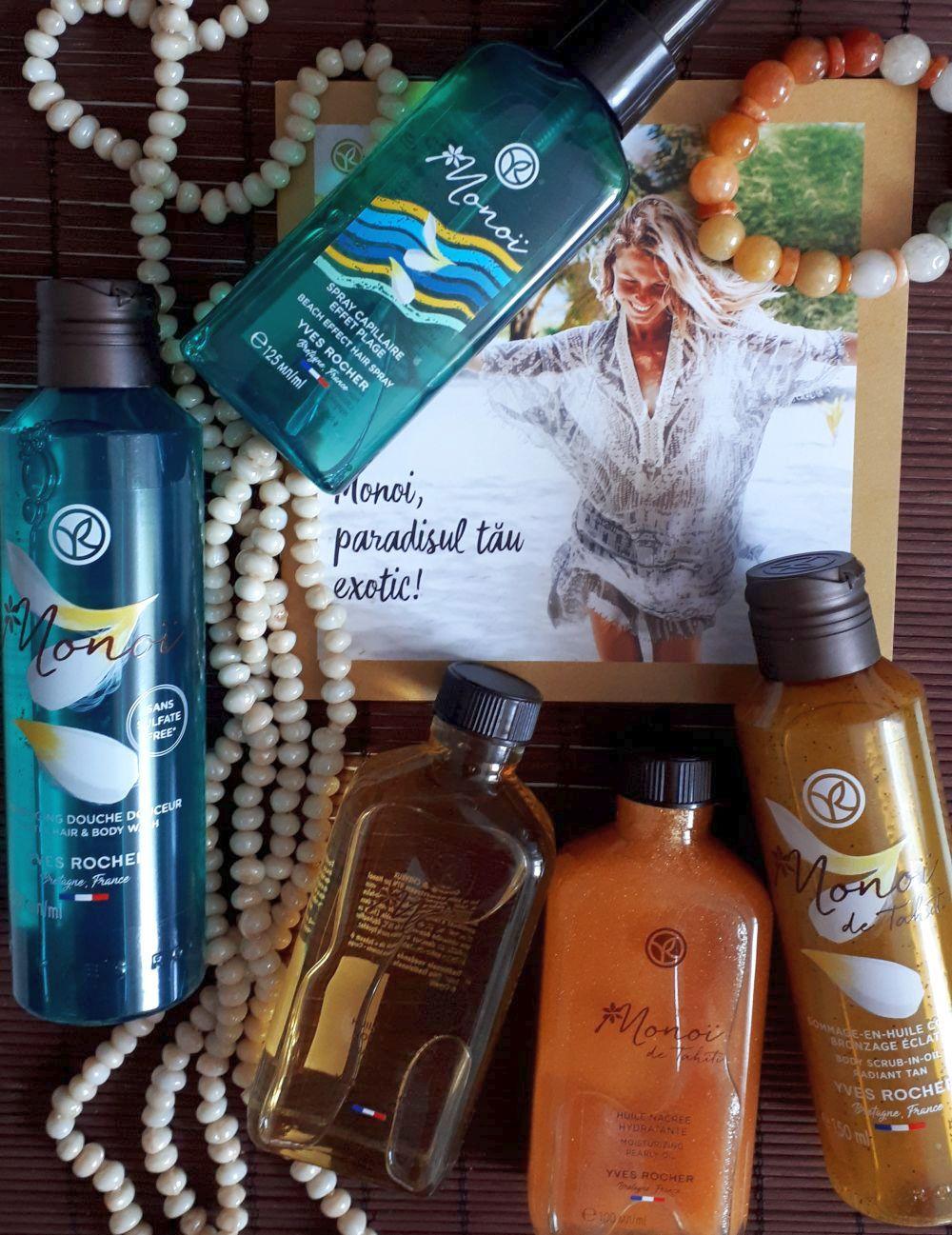 sampoin de păr şi corp, spray de păr, gomaj Monoi de Tahiti