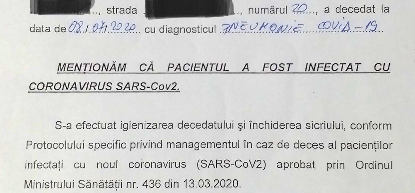 covid-19 extras din certificatul anatomopatologic