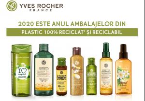toate ambalajele Yves Rocher sunt din plastic reciclat sau reciclabil