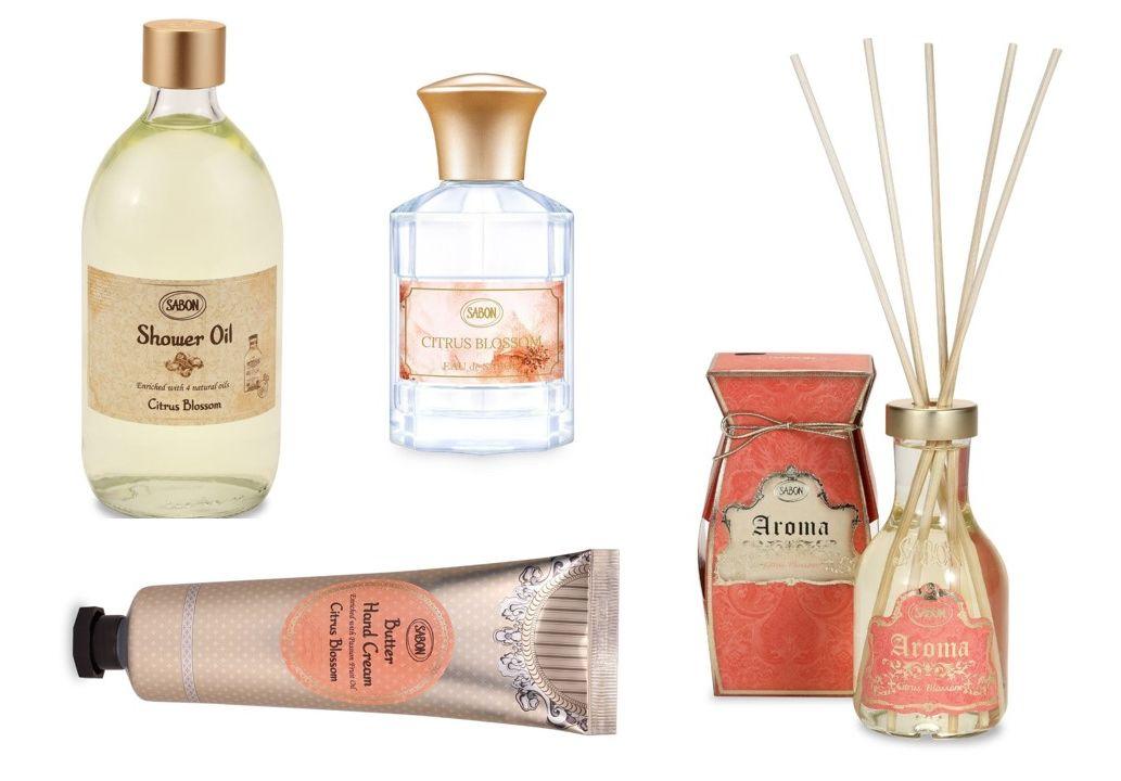 Sabon Citrus Blossom parfum, ulei de duș, cremă de mâini și parfum de cameră